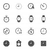 Time Clock Flat Icons Isolated On White Background. Time Clock Vector Icon Set For Web And Ui Design poster