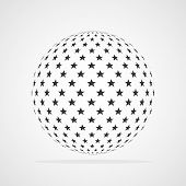 Abstract Dotted Sphere. Vector Illustration. 3d Halftone Dot Effect. Black Dots In White Background. poster