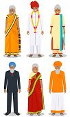 Set Of Different Standing Indian Old People In The Traditional Clothing Isolated On White Background poster