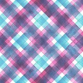 Watercolor Diagonal Stripe Plaid Seamless Texture. Colorful Teal Blue And Pink Stripes Background. W poster