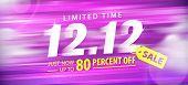 Purple 12.12  Sale 80 Percent Off Promotion Website Banner Heading Design On Graphic Purple Backgrou poster