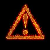 Burning Triangle Caution Sign Fire On Black