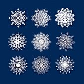 Set Of 3d Snowflake Isolated Icon, Papercut poster