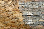 Stone Wall. Masonry Walls Made Of Rough Stone Hewn Wet Discord Color. Stone Background. Stone Textur poster