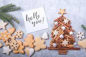 Christmas Tree Made Of Cinnamon With Traditional Gingerbread Cookies On Grey Background, Space For T poster