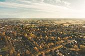 Aerial Panoramic Shot Of Beverley Town And Minster From The Sky In November 2019 With Beautiful Autu poster