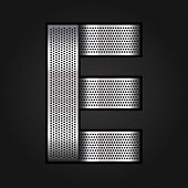Letter metal chrome ribbon - E
