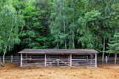 Farm Shelter Pasture For Cloven-hoofed Animals With A Barn Canopy For Animals, A Place For Pasture   poster