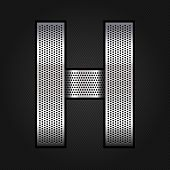 Letter metal chrome ribbon - H
