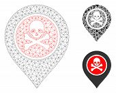 Mesh Dangerous Zone Pointer Model With Triangle Mosaic Icon. Wire Carcass Polygonal Mesh Of Dangerou poster