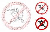 Mesh No Aviation Accidents Model With Triangle Mosaic Icon. Wire Frame Triangular Mesh Of No Aviatio poster