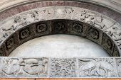 picture of arthurian  - Modena cathedral carvings on the archivolt are notable for depicting a very early Arthurian scene Italy - JPG