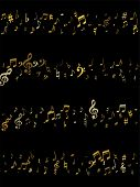 Gold Flying Musical Notes Isolated On Black Background. Stylish Musical Notation Symphony Signs, Not poster