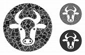 Bull Head Mosaic Of Inequal Parts In Various Sizes And Color Tones, Based On Bull Head Icon. Vector  poster