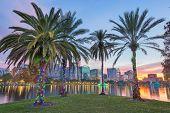 Orlando, Florida, USA downtown skyline at Eola Lake at dusk. poster