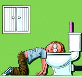 stock photo of pre-teen boy  - Cartoon teen boy sick in the toilet - JPG