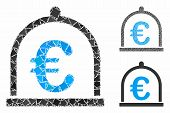 Euro Storage Mosaic Of Abrupt Pieces In Various Sizes And Color Tints, Based On Euro Storage Icon. V poster