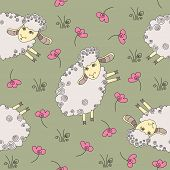 Cute Seamless Pattern With Funny Sheep. Vector Illustration. Cute Vector Illustration Template Of Fu poster