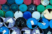 Old Chemical Barrels. Blue, Green, And Red Oil Drum. Steel Oil Tank. Toxic Waste Warehouse. Hazard C poster