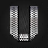 Letter metal chrome ribbon - U
