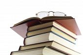 Pile Of Books, From Above Glasses It Is Isolated On A White Background