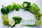 G Means Green! The Letter G Is Lined With Green Vegetables And Fruits: Cucumber, Green Onions, Bell poster