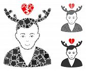 Deceived Horned Husband Mosaic Of Tremulant Parts In Different Sizes And Color Hues, Based On Deceiv poster