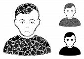 Sad Man Mosaic Of Ragged Pieces In Different Sizes And Shades, Based On Sad Man Icon. Vector Tremula poster