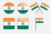 stock photo of ashok  - set of badges with flag of India vector illustration - JPG