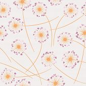 Cute Dandelion Blowing Vector Floral Seamless Pattern. Simple Flowers With Heart Shaped Fluff Flying poster