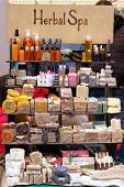 Handmade Natural Cosmetics. Cosmetics With Organic Natural Ingredients Sold At The Market. Herbal Sp poster