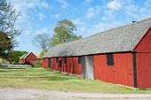 Old Wooden Barns And Stables In Sweden