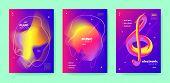 Neon Dj Flyer. Electronic Concert. Purple Futuristic Pattern. Red 3d Fluid Design. Colorful Dj Layou poster