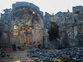 Ruins Of The Ancient City, Ancient Architecture. Walls And Arches Of An Old Ruined Building, Stones  poster