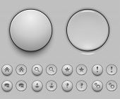 pic of spherical  - Blank white push button template vector illustration - JPG