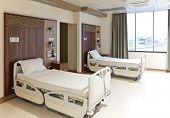 foto of infirmary  - Modern equipped hospital room with two empty beds - JPG
