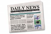 Mock up of a Daily newspaper on a white background. The name, title, headlines and stories are all f