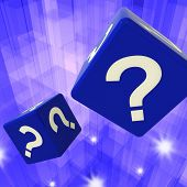 Question Mark Dice Background Showing Confusion