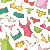 stock photo of tanga  - Color  Cute Female Underwear Doodle Seamless Pattern - JPG