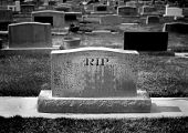 pic of rest-in-peace  - Gravestone in cemetery with words RIP rest in peace carved - JPG