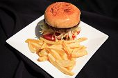 Beef Burger With Fries