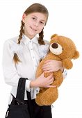 Schoolgirl With Bear