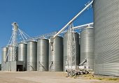 stock photo of auger  - Steel grain storage silos standing in a row - JPG