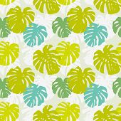 Seamless Pattern With Monstera Leafs
