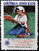 A stamp printed in Guatemala shows Costume of Coban Alta Veracruz