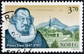 A stamp printed in Norway shows Petter Dass