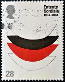 : A stamp printed in Great Britain dedicated to Centenary of the Entente Cordiale