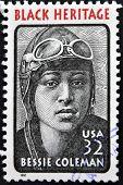 stamp printed in USA showing pilot Bessie Coleman Black Heritage
