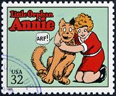 Briefmarke gedruckt in USA gewidmet Comic-Strip-Klassiker zeigt Little Orphan Annie
