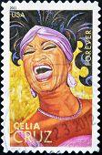 A stamp printed in USA shows Celia Cruz